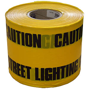 150mm x 365m Underground Tape - 'Caution Street Lighting Cable Below'