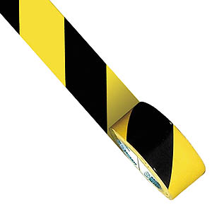 33m x 75mm Floor Tape - Black/Yellow