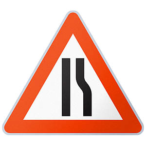 750mm Sign Face - Road Narrows
